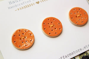 Round Ceramic Buttons - Brown - Burnt Orange