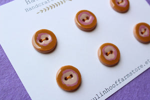 Round Ceramic Buttons - Purple + Brown