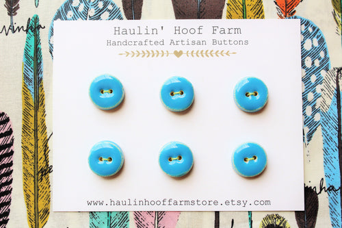 Round Ceramic Buttons - Turquoise