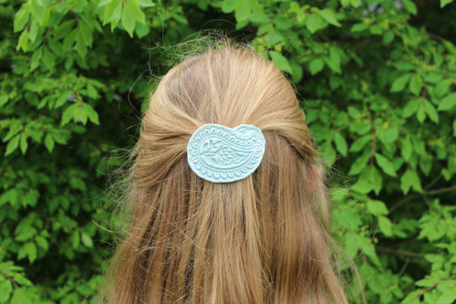 Ceramic Barrette-Baby Blue-