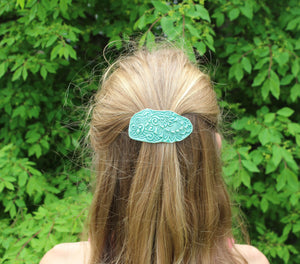 Ceramic Barrette-Aqua/Green