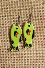 Load image into Gallery viewer, Ceramic Fish Earrings - Lime Green