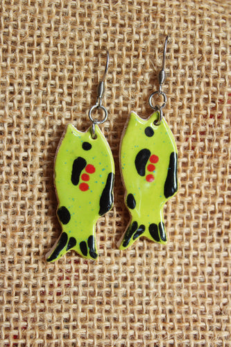 Ceramic Fish Earrings - Lime Green