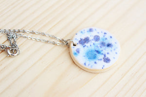Ceramic Necklace - Blue + White