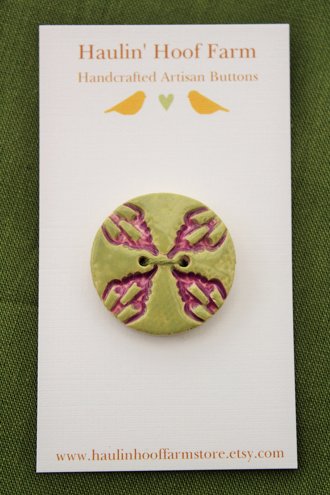 Decorative Ceramic Button - Purple/Green