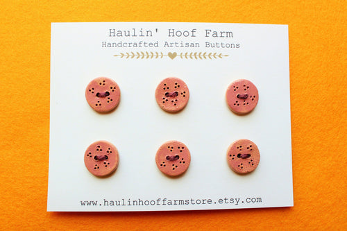 Round Ceramic Buttons - Earthy Pink