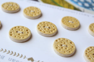 Round Ceramic Buttons - Yellow/Tan