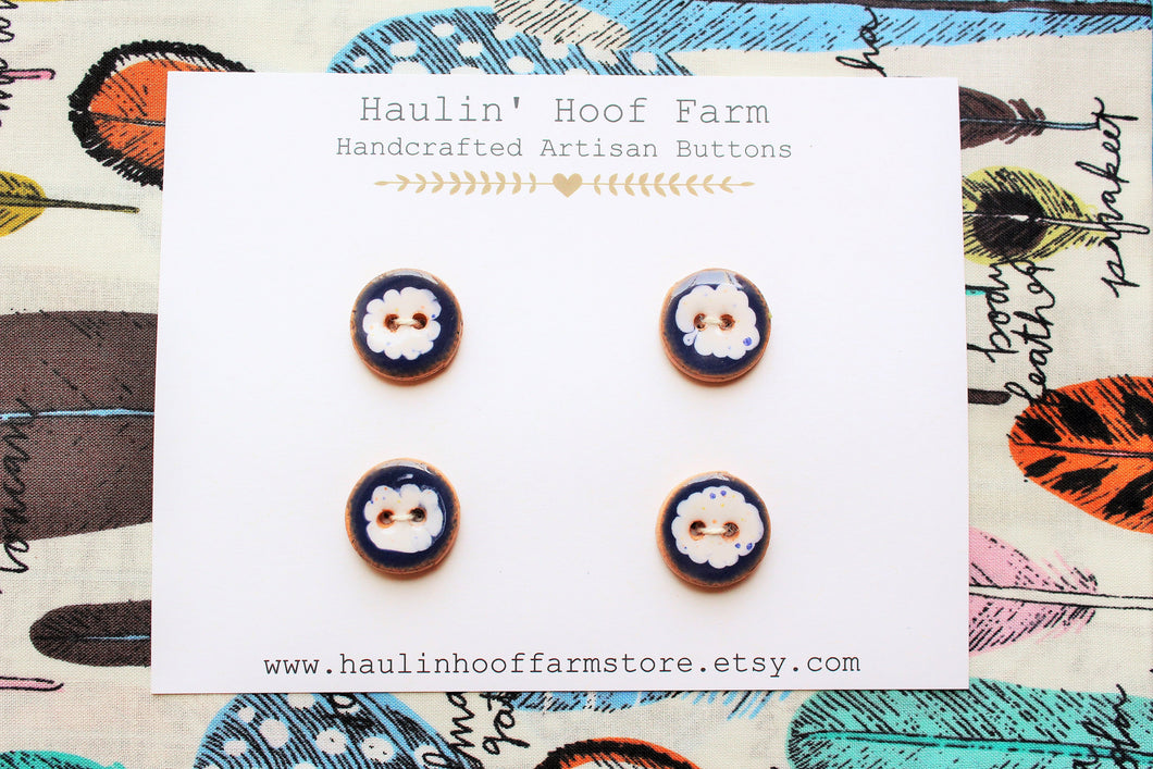 Round Ceramic Buttons - Blue + White Clouds