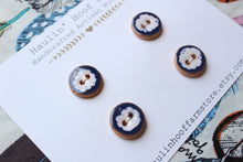 Load image into Gallery viewer, Round Ceramic Buttons - Blue + White Clouds