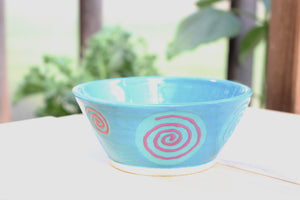 Colorful Ceramic bowl - Turquoise & Swirls