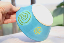 Load image into Gallery viewer, Colorful Ceramic bowl - Turquoise & Swirls