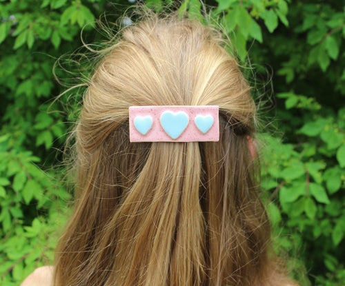 Ceramic heart Barrette-Pink