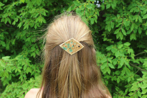 Ceramic Barrette-Brown/Blue