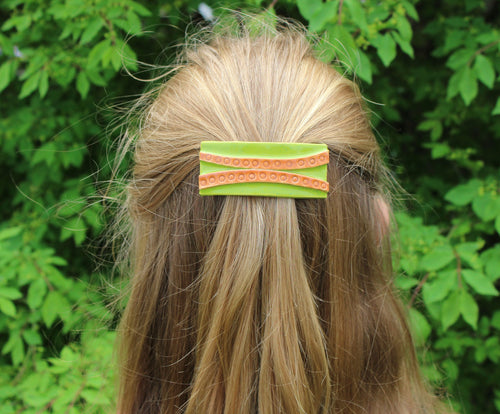 Ceramic Art Barrette-Lime/Tan