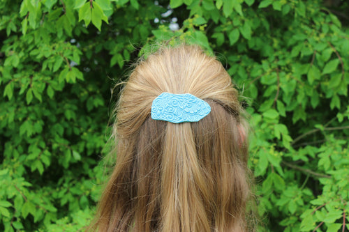 Ceramic Barrette-Aqua/Blue