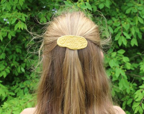 Ceramic Barrette-Gold/Yellow