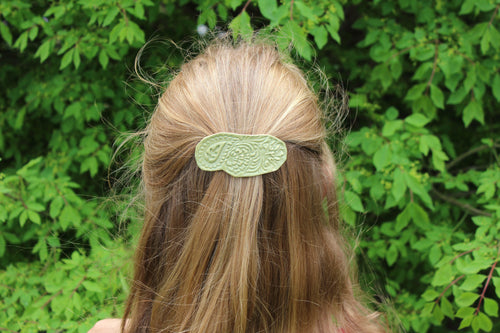 Ceramic Barrette-Green/Sage