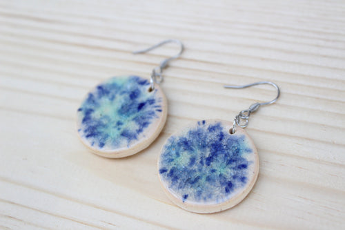 Blue Ceramic Crystallite Earrings