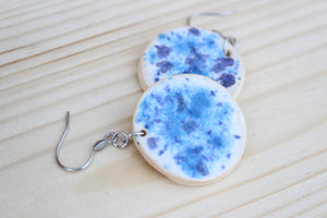 Blue Speckled Ceramic Earrings -  1-1/8""