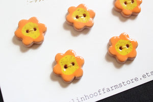 Ceramic Flower Buttons - Orange + Yellow