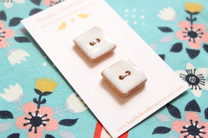 Square Ceramic Buttons - White on Brown Clay