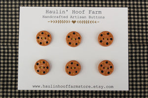 Round Ceramic Buttons - Yellow+Black Dots on Brown Clay