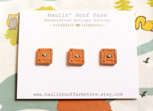 Square Ceramic Buttons - Camel Brown - Burnt Orange