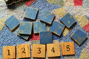 Wooden Number Match Game with Wool Drawstring Bag