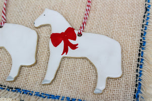 Horse Ornaments - White Ceramic Horses