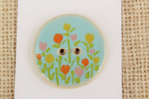 Large Round Ceramic Button - Flower Patch
