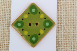 Large Ceramic Button - Diamond Shape - Lime Green