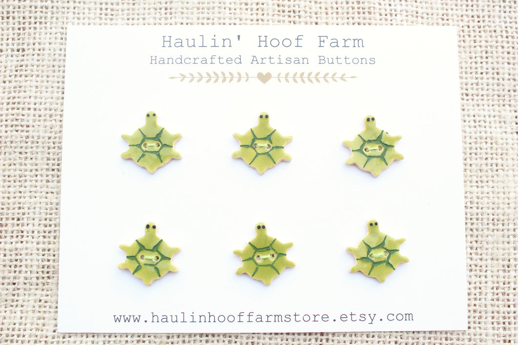 Ceramic Turtle Buttons - Green Turtles