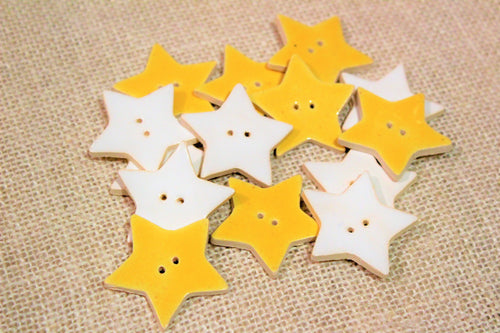 Ceramic Star Buttons - Yellow & White Stars