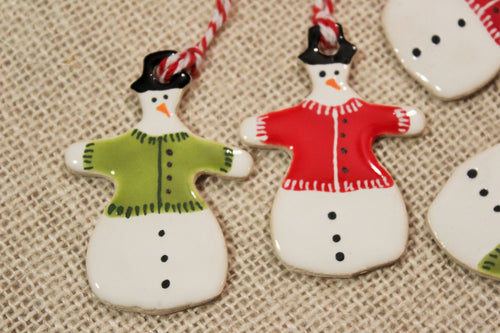Ceramic Snowman Ornament with Sweater