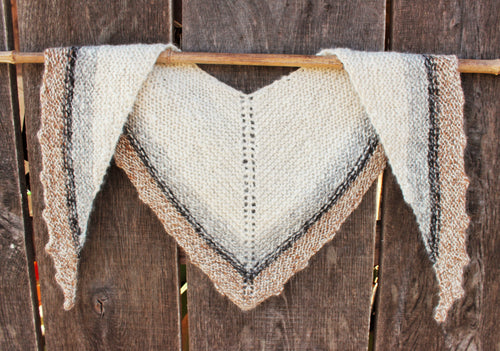 Hand Knit & Hand Spun Alpaca Shawl - Natural Colored