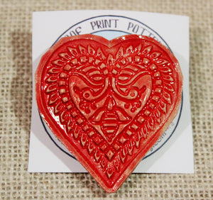 Ceramic Heart Barrette-Red