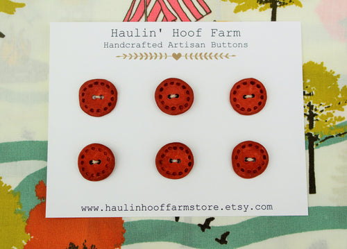 Round Ceramic Buttons - Brick Red