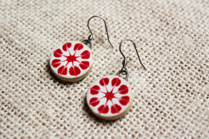 Red Flower Ceramic Earrings