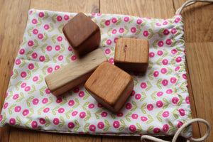 Natural Teething Blocks for Baby-Maple + Cherry