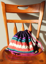 Load image into Gallery viewer, Upcycled Cotton Knitting Project Bag - Festivity Pattern