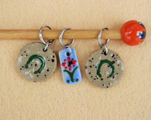 Knitting Stitch Markers - Set of 3 - Flower and Horseshoe