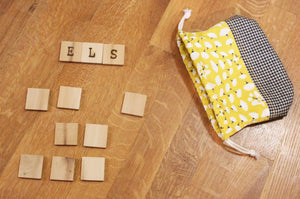 Wooden Name Tiles With Keepsake Bag