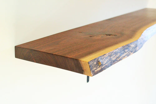 Finished Live Edge Black Walnut Shelf - Console