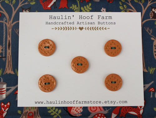 Round Ceramic Buttons - Brown Clay