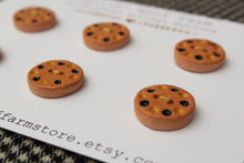 Load image into Gallery viewer, Round Ceramic Buttons - Yellow+Black Dots on Brown Clay
