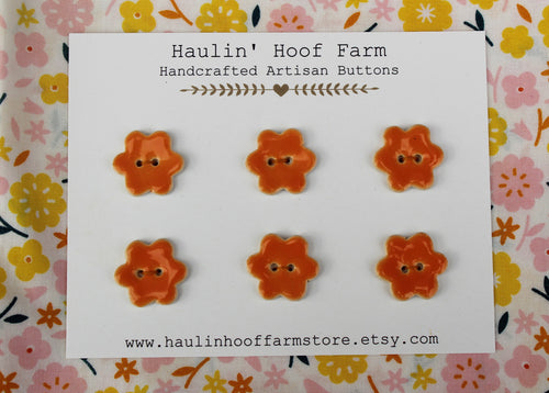 Orange Ceramic Flower Buttons