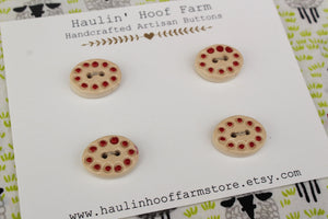 Oval Ceramic Buttons - Red Dots