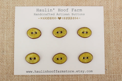 Oval Ceramic Buttons - Speckled Yellow