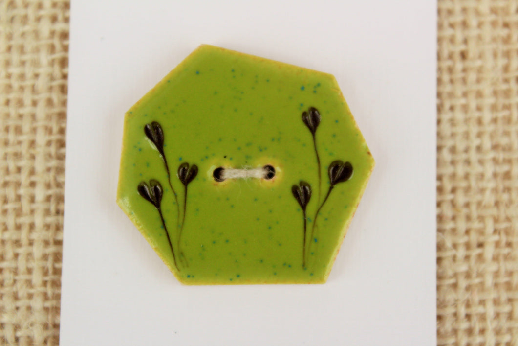 Large Geometric Ceramic Button - Lime Green
