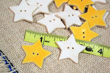 Load image into Gallery viewer, Ceramic Star Buttons - Yellow & White Stars